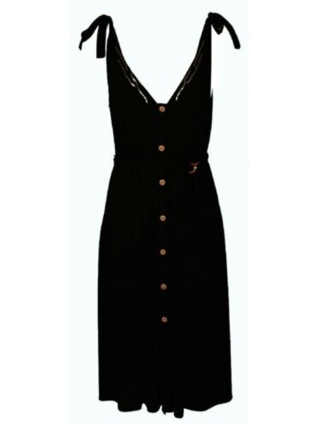 Abito donna lungo laccini regolabili vestito aperto con bottoni tempo libero mar