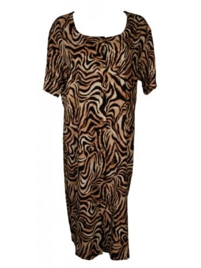 Abito donna lungo manica corta vestito aperto bottoni cotone tempo libero ACQUAV