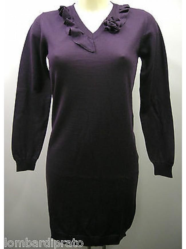 Abito vestito lana donna V dress woman RAGNO A7761N T.L c:269 mirtillo viola