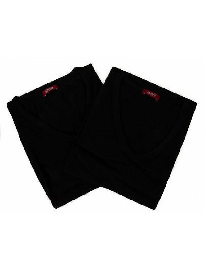 Bipack 2 t-shirt scollo V uomo underwear RAGNO 065418 taglia XXL col. 020KB NERO