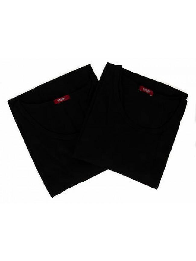 Bipack 2 t-shirt scollo giro uomo underwear RAGNO 062477 taglia XXL c. 020B NERO