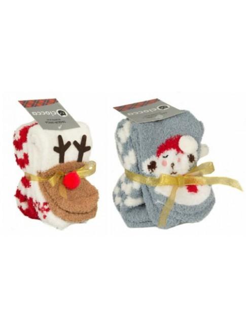Bipack calza confezione 2 paia calzini donna in ciniglia con antiscivolo idea re