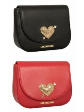 Borsa borsetta donna a mano con tracolla cuore strass LOVE MOSCHINO articolo JC4