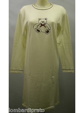 CAMICIA NOTTE DONNA NIGHTGOWN WOMAN CAMISON DOLCI CHICCHE 8431 T.42 PANNA BEAR