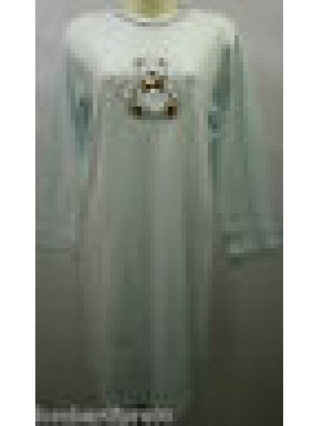 CAMICIA NOTTE DONNA NIGHTGOWN WOMAN CAMISON DOLCI CHICCHE 8431 T.48 CELESTE BEAR
