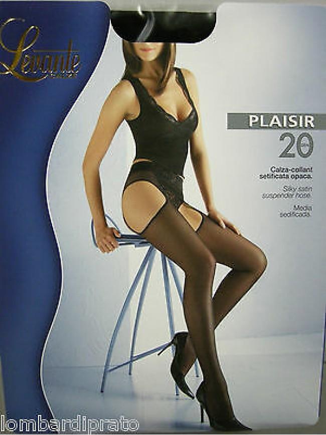 COLLANT REGGICALZE SUPENDER SATIN DONNA LEVANTE PLAISIR T.3 NERO BLACK SEXY 20 D