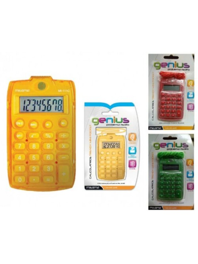 Calcolatrice inclusa di batteria trendy mini pocket GENIUS MITAMA articolo 61393