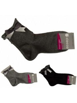 Calza calzino basso donna calzini in caldo cotone taglio vivo fiocco apllicato C