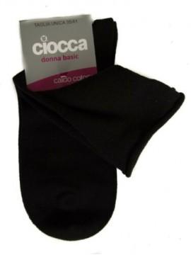 Calza calzino basso donna con bordino senza elastico caldo cotone CIOCCA articol