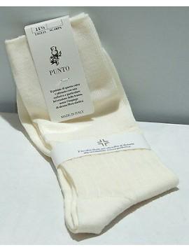 Calza corta circolazione lana calzini PUNTO relax 7/3 T.43-44/11mezzo bianco lan