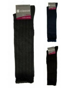 Calza gambaletto donna con righe tratteggiate in caldo cotone CIOCCA articolo 43