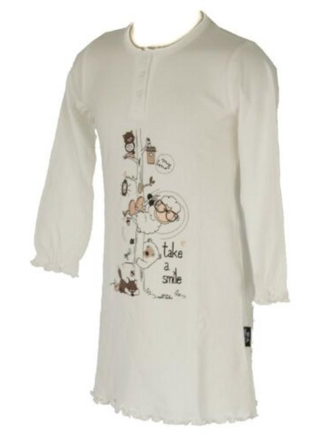 Camicia da notte bimba femmina interlock manica lunga collo serafinino HAPPY PEO