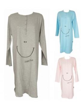 Camicia da notte donna cotome manica lunga scollo serfaino HAPPY PEOPLE 3262
