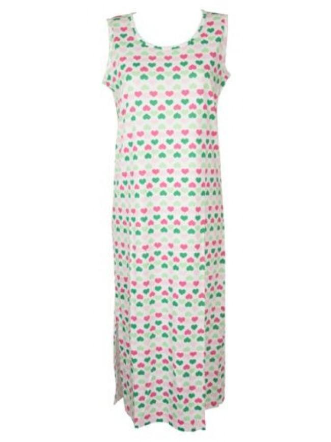 Camicia da notte donna cotone lunga con spacchi senza maniche girocollo RAGNO ar