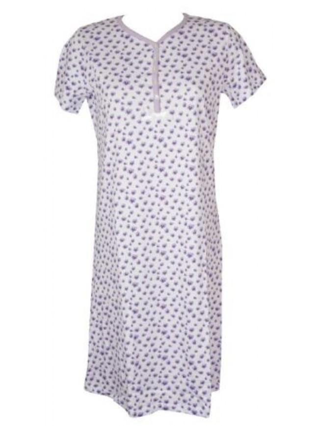 Camicia da notte donna cotone manica corta scollo serafino RAGNO articolo D254NK