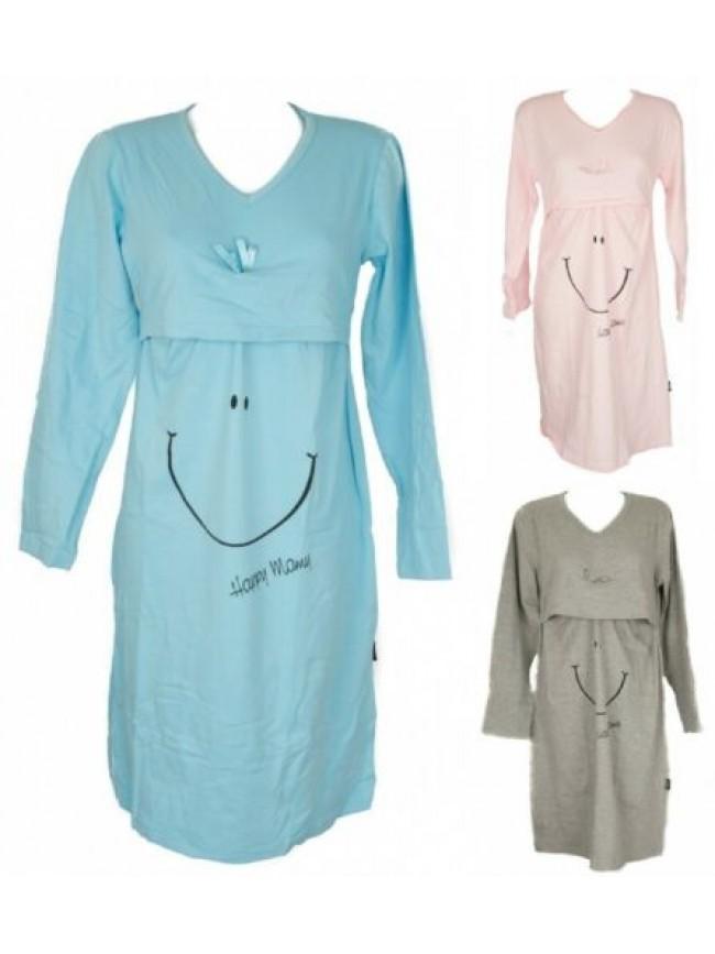 Camicia da notte donna cotone manica lunga scollo V per allattamento HAPPY PEOPL