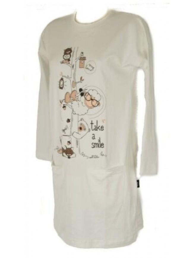 Camicia da notte donna interlock manica lunga girocollo HAPPY PEOPLE articolo 34