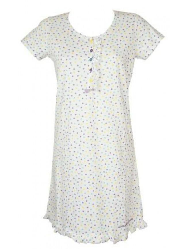 Camicia da notte donna manica corta cotone collo serafino RAGNO articolo N70407