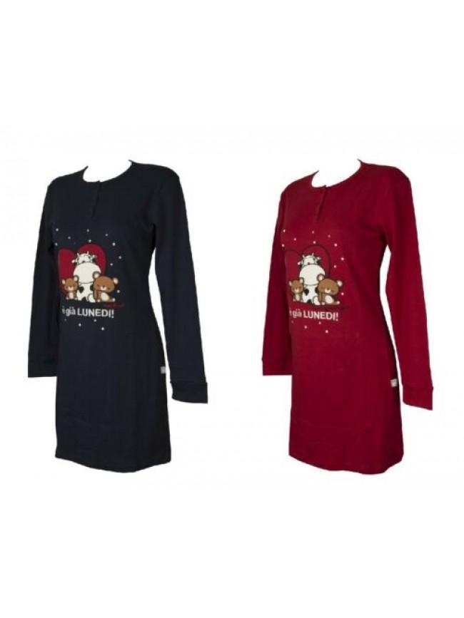 Camicia da notte manica lunga collo serafino donna cotone invernale interlock  C