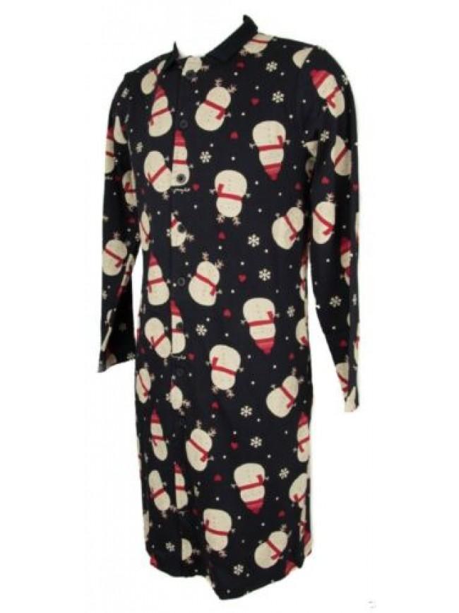 Camicia da notte uomo manica lunga aperta con bottoni cotone interlock sleepwear
