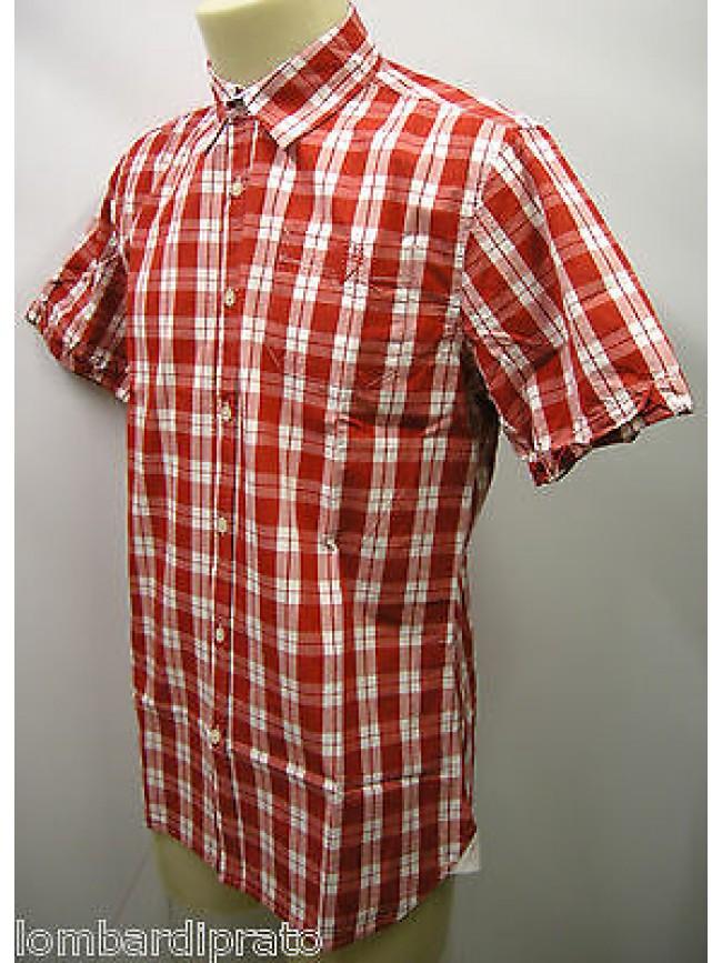 Camicia uomo cotone shirt camisa GUESS FA7U2D T.S c.U649 rosso santiago quadri