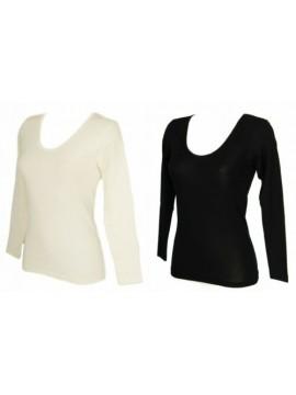 Camiciola donna manica lunga 85% lana merino e 15% seta RAGNO articolo 074029