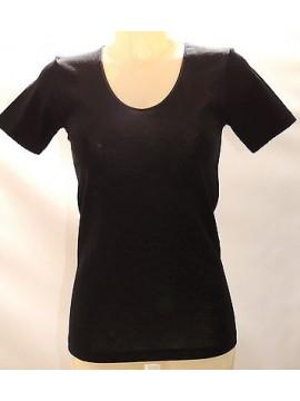 Camiciola mezza manica lana&seta donna RAGNO art.074027 T.L/5 col.020 nero