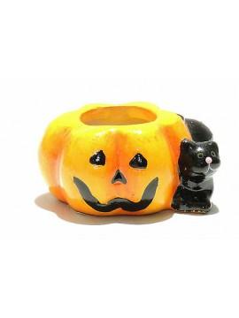Candela zucca in ceramica coccio halloween art.500131 gatto nero