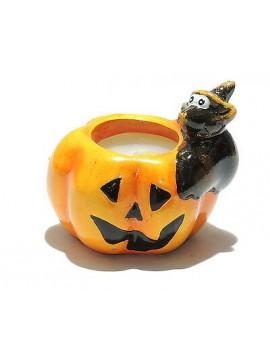 Candela zucca in ceramica coccio halloween art.500131 pipistrello bat