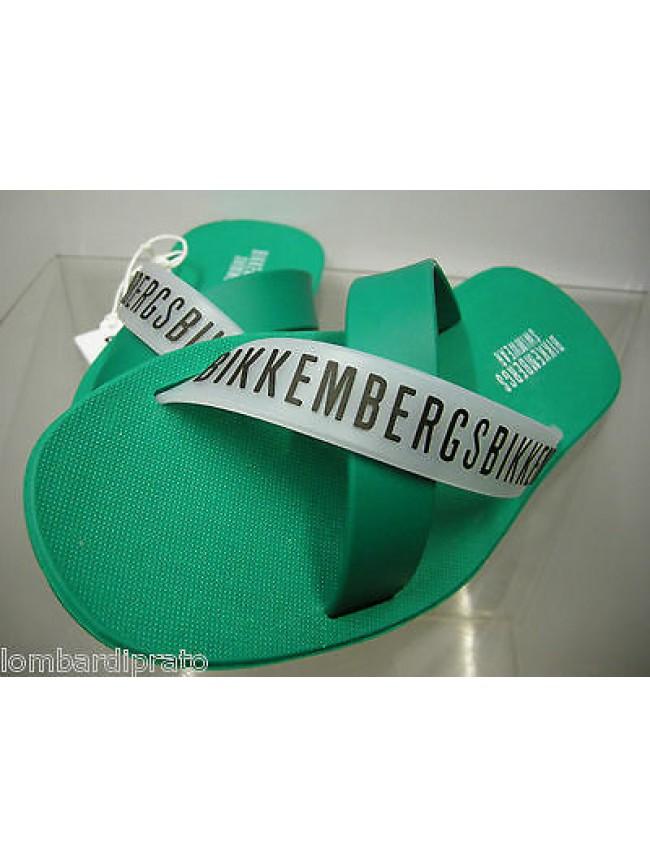 Ciabatta mare uomo BIKKEMBERGS a.P214 W72 T.40 c.8000 VERDE GREEN slippers man