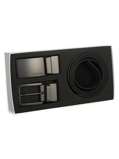 Cintura 2 fibbie regalo CK CALVIN KLEIN JEANS K50K500841 taglia 110 c. 910 NERO
