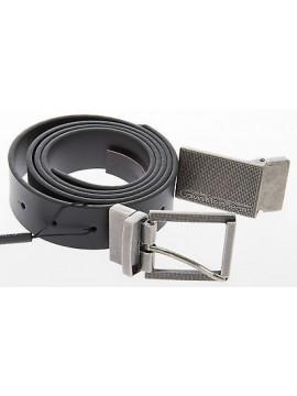 Cintura pelle 2 fibbie CK CALVIN KLEIN JEANS a.C722DL T.110 c.999 NERO belt