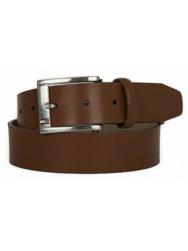Cintura uomo pelle belt TOMMY HILFIGER a. AM0AM01666 taglia 85 c. 247 DARK TAN