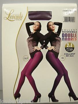 Collant calza donna reversibile LEVANTE DOUBLE tg.4 CICLAMINO MELANZANA 80 DEN