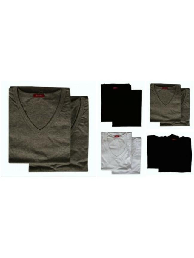 Confezione 2 t-shirt uomo maglietta intima manica corta camiciola scollo V coton