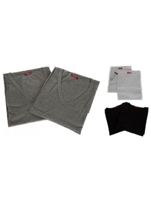 Confezione 2 t-shirt uomo manica corta cotone scollo V RAGNO SPORT art.601418