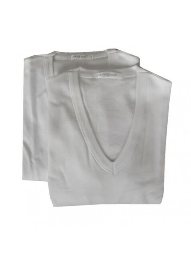 Confezione 2 t-shirt uomo scollo V cotone interlock manica corta NOTTINGHAM arti