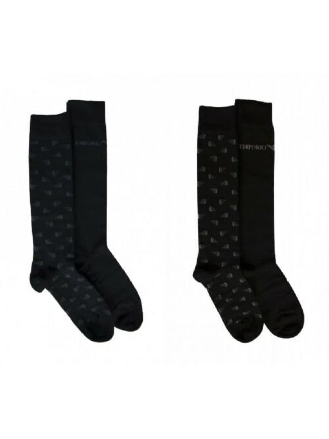 Confezione scatola 2 paia calze lunghe calzini alti uomo bipack EMPORIO ARMANI a