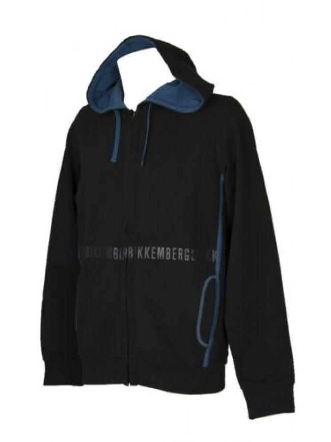 Felpa aperta BIKKEMBERGS con zip uomo maglia con cappuccio articolo VBKT05110 FL