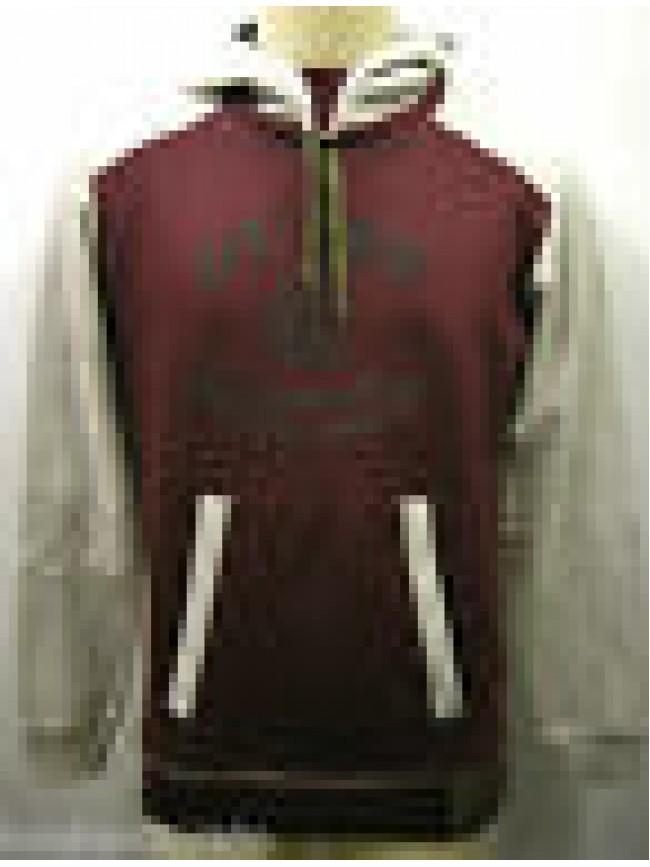 Felpa maglia cappuccio uomo hoodie fleece man GUESS UF6I36 T.XXL B584 bordeaux