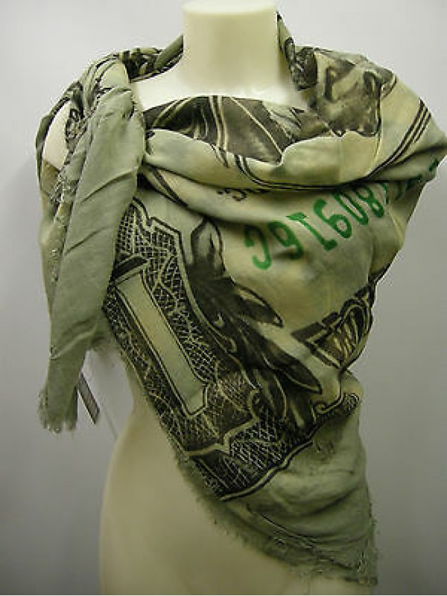 Kefia foulard sciarpa scarf SWEET YEARS a.LF41 c.1 verde green one dollar Italy