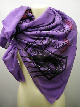 Kefia foulard sciarpa scarf SWEET YEARS art.LF75 col.2 lilla post card Italy