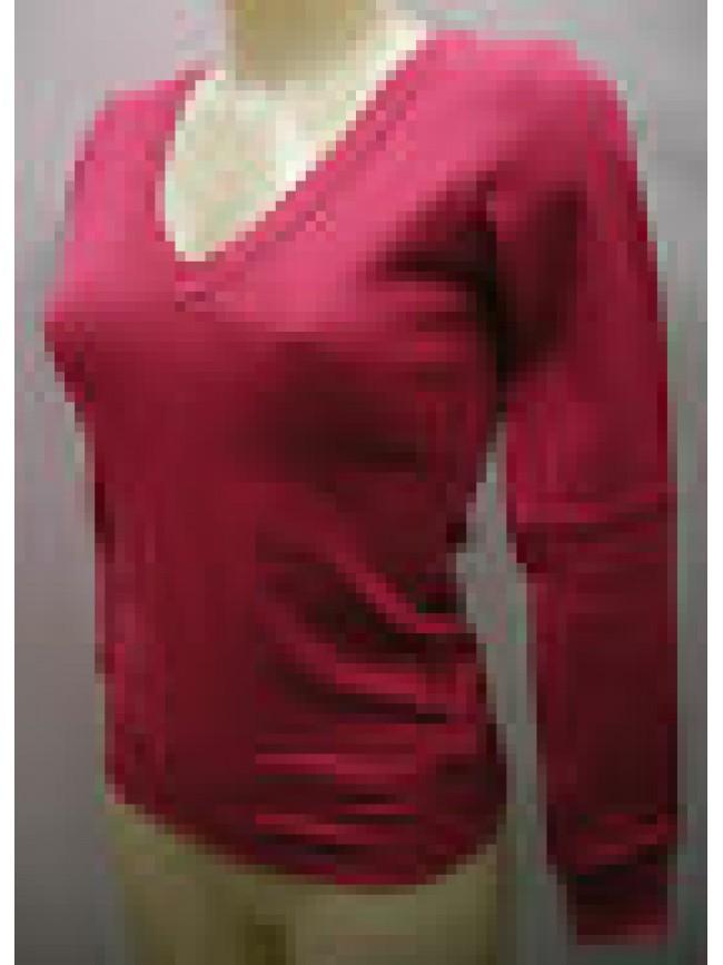 MAGLIA SCOLLO V T-SHIRT DONNA SWEATER RAGNO ART.077179 T.2/XS COL.294 TROPICO