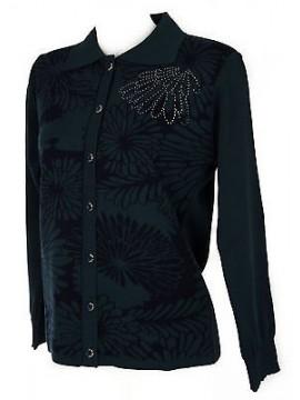 Maglia aperta bottoni donna sweater LINEAELLE art. 552 taglia M col. BLU