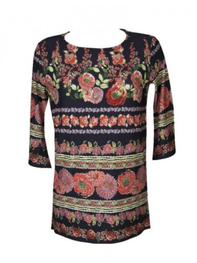 Maglia donna manica 3/4  t-shirt maglietta viscosa girocollo con spacchi lateral