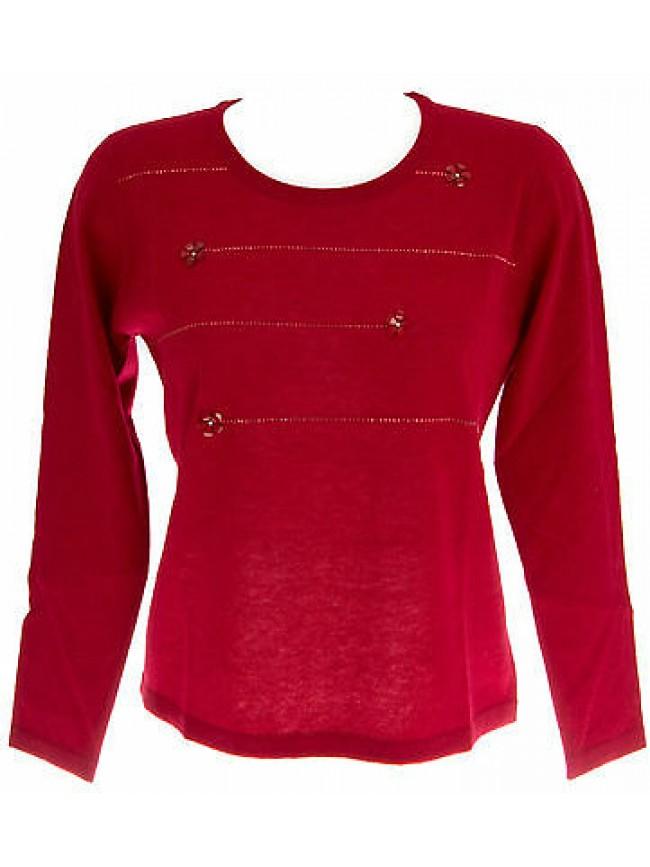 Maglia giro strass donna sweater RISMEL art.G37E-12 T.L col.ROSSO RED
