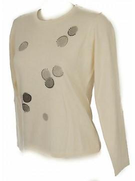 Maglia girocollo bolle donna sweater RISMEL art. G37-32 taglia L col. AVORIO