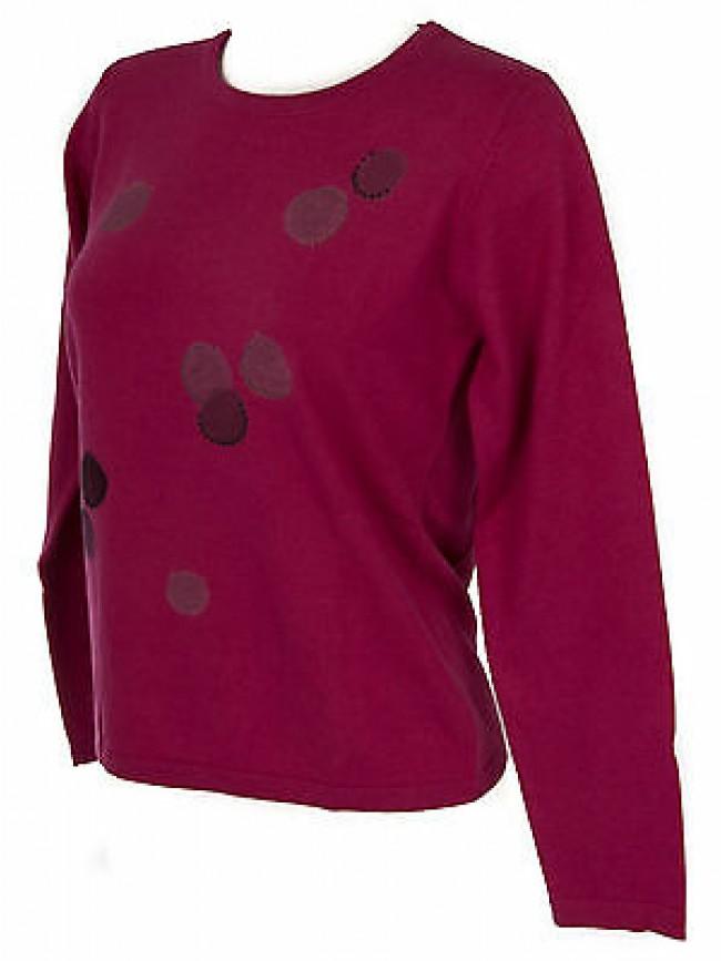 Maglia girocollo bolle donna sweater RISMEL art. G37-32 taglia L col. FUXIA