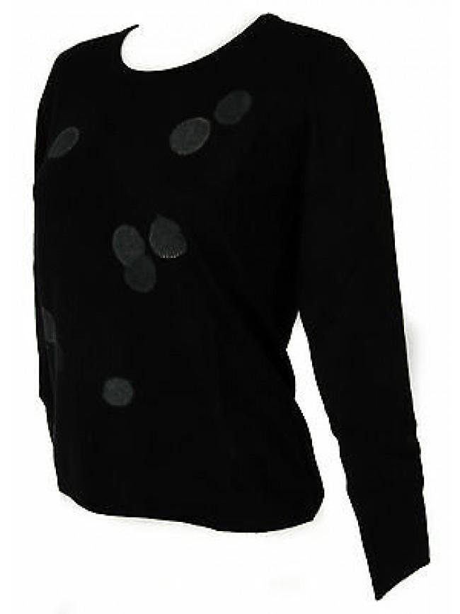Maglia girocollo bolle donna sweater RISMEL art. G37-32 taglia M col. NERO