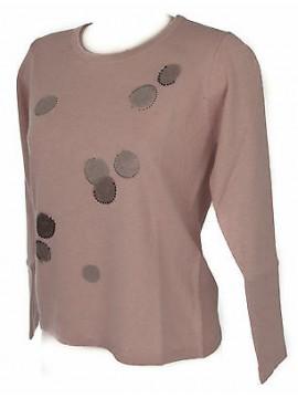 Maglia girocollo bolle donna sweater RISMEL art. G37-32 taglia M col. ROSA